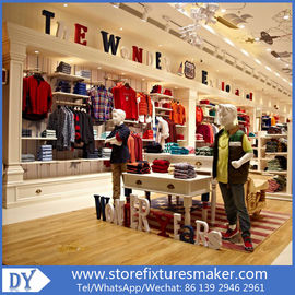 Китай OEM Service wooden lacquer Youth Clothing Stores display furnitures with led lighting decorated завод