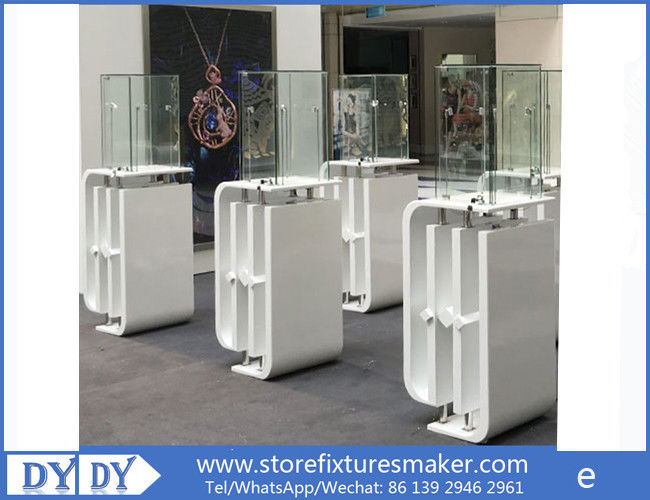 Oem manufacturing good price wooden glass white color perspex display stands with locks поставщик