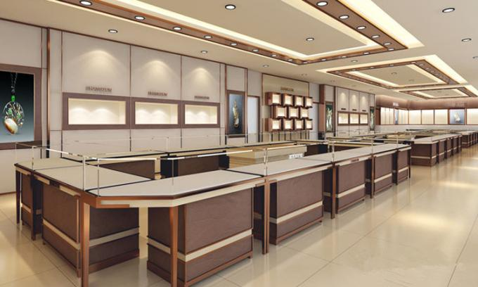 Elegant 3d rendering customized glass jewellery shop counter design